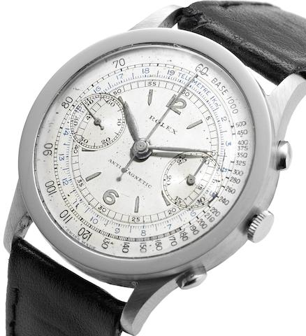 Rolex. A fine and rare stainless steel chronograph wristwatchAntimagnetic, Ref:2508, Serial No.0346**, Circa 1938