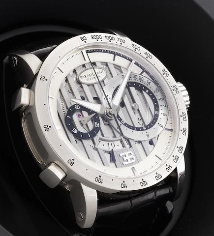 Parmigiani Fleurier. A fine 18ct white gold automatic flyback chronograph calendar wristwatchBugatti Atalanta, Recent