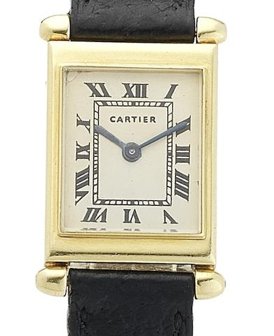 Cartier. A lady's fine 18ct gold manual wind wristwatch Tank Carré Obus, Circa 1965