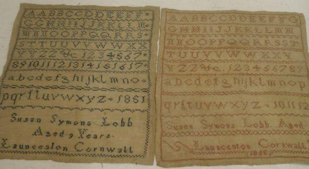 Two unframed Victorian samplers, worked with alphabets and numerals, by Susan Symons Lobb aged 8, Launceston Cornwall 1850 and another by the same hand aged 9 years, each 30 x 26cm.