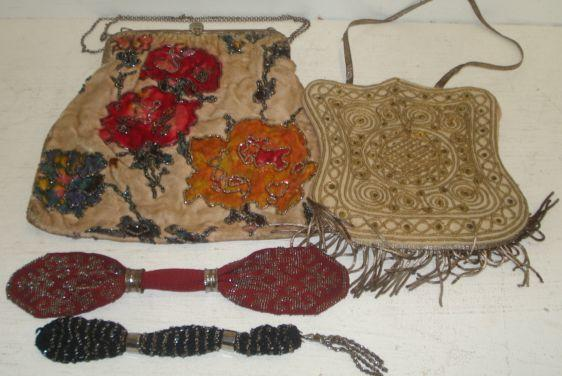 A collection of six Miser's 19th Century beaded and other purses, four other beaded bags and purses, two chain link bags, a large plush bag with beaded outlines, four embroidered and other bags, an Indian embroidered bag and matching headware with mirrored inserts, and a draw-string bag with matching cap.