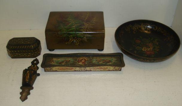 A Victorian rectangular papier mache needlework box, painted with ferns, buttoned blue lining, 23cm, a circular papier mache bowl painted with flowers, 26cm a Rowntree & Co lithographed tin plate Grace Darling Chocolate box, 30cm and other items.