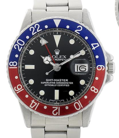 Rolex. A stainless steel automatic calendar bracelet watch with time zones indication GMT-Master, Ref:1675, Serial No.3386***, Circa 1971
