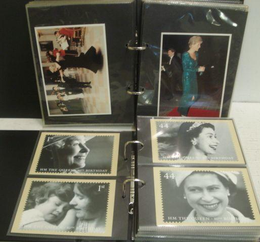 A large collection of postcards and stamps, relating to the Royal Family, in twenty two albums and other items of Royal Ephemera.