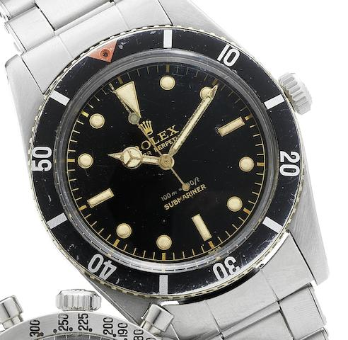 Rolex. A very fine and rare stainless steel self-winding water-resistant wristwatch with sweep centre seconds, bracelet Submariner, Ref:6536, Case No.306706, Made in March 1957