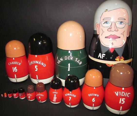 A collection of 15 Manchester United Russian dolls presented to players only - 2008 Champions League final