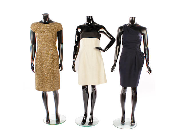 A group of five designer evening dresses