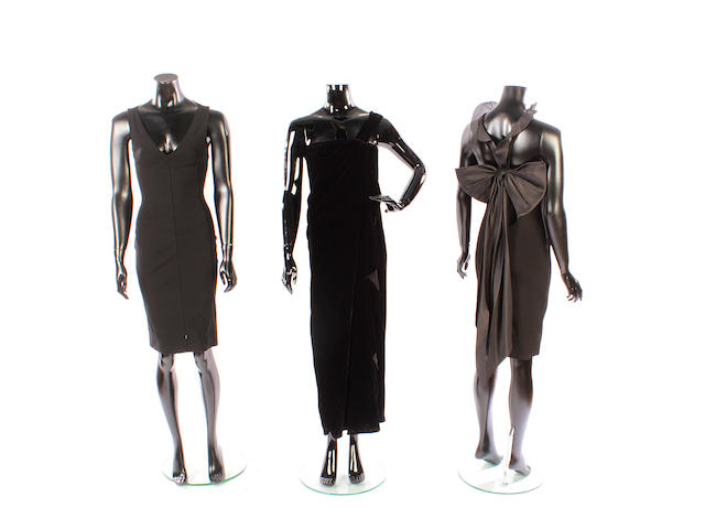 Three designer evening dresses