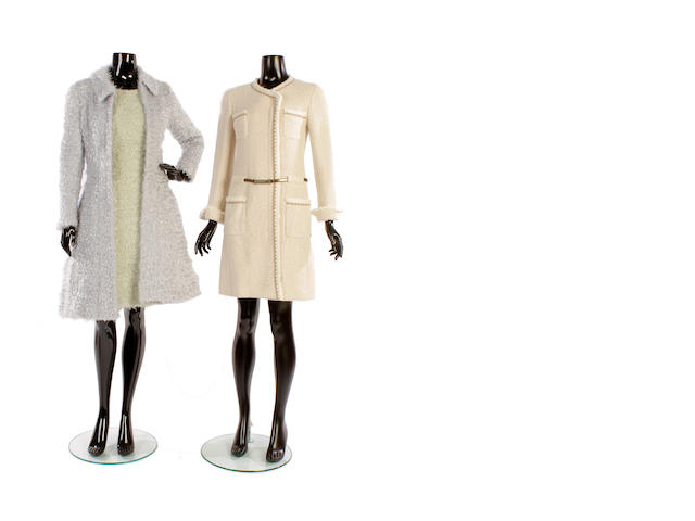 A Chanel mohair dress and matching coat and three other Chanel coats