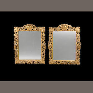A pair of Italian late 18th century giltwood rectangular mirrors