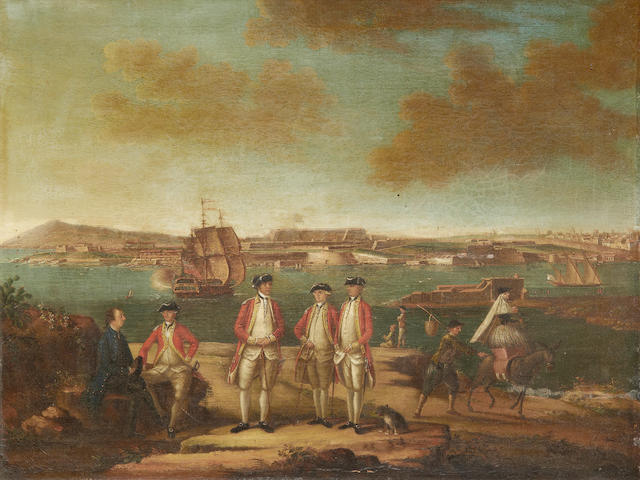 Attributed to Giuseppe Ignacio Chiesa (1720-1805) British Infantry officers on a bluff, with a view of Fort St Philip, Port Mahon, Minorca, beyond