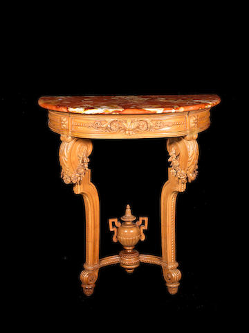 A late Louis XV style fruitwood console table with marble top, Stamped JEANSELME