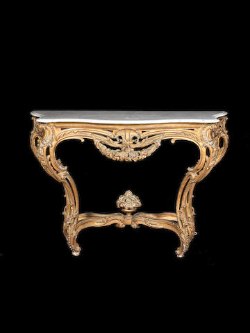 A French C19th Louis XV style giltwood console table with marble top