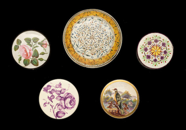 Five creamware or pearlware tobacco boxes with screw tops, circa 1775-1800