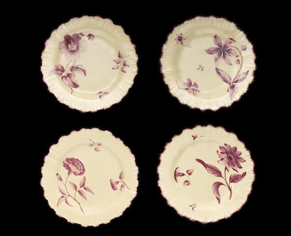Four Wedgwood creamware plates, circa 1769-71