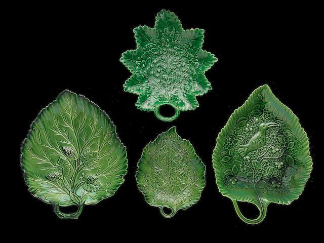 Four Staffordshire green glazed leaf dishes, circa 1760-65