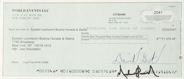 Michael Jackson: A cheque signed by David Gest and Michael Jackson, 2001,