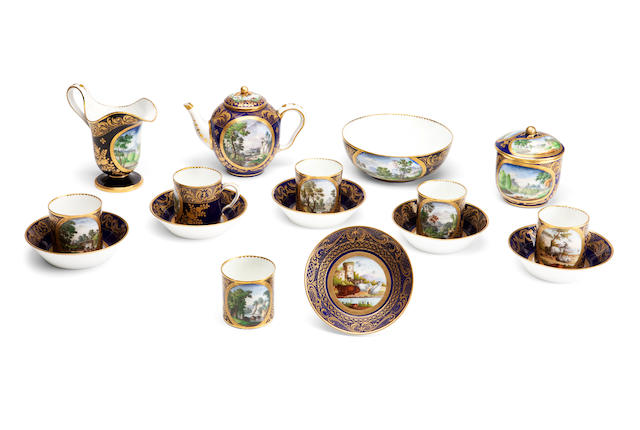 A Sevres blue ground porcelain cabaret set (lacking tray)