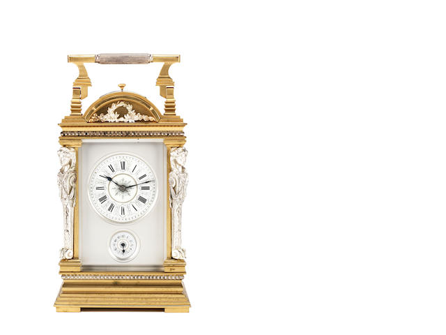 A late 19th century silvered and gilt brass grand sonnerie carriage clock  Attributed to Jacot