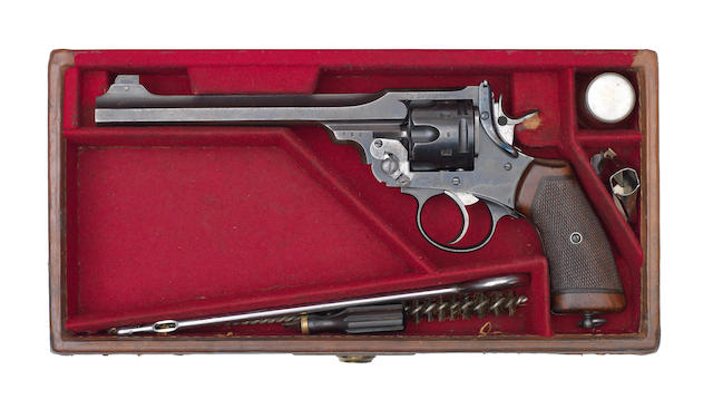 "A cased .455 '""W.S."" Target Model' revolver by Webley & Scott, no. 452994 In a John Blanch & Son canvas case with additional foresight-blades and some cleaning accessories"