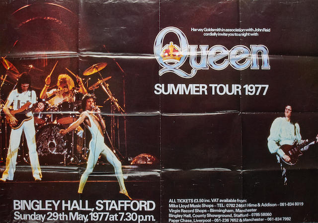 Queen: a concert poster, Bingley Hall, Stafford, 1977,