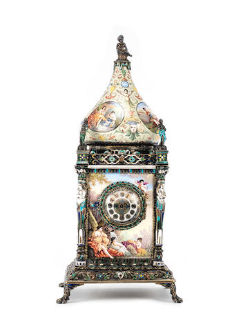 A late 19th century Austrian enamel boudoir timepiece