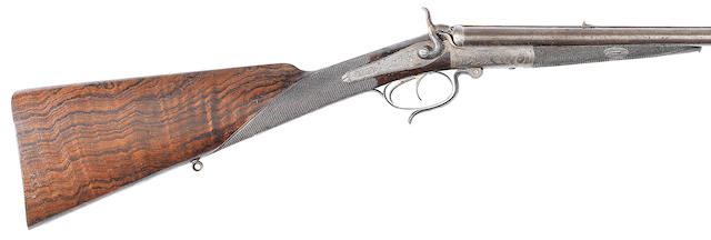 A .380 (Long) hammer rifle by John Venables & Son, no. 1940 In its canvas case (handle missing)