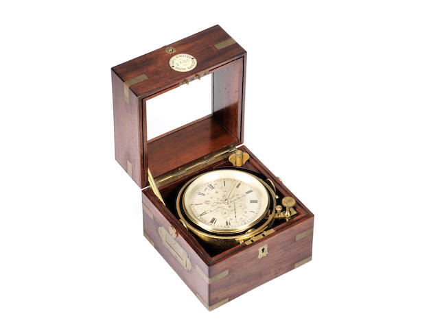 A mid 19th century brass-bound mahogany two-day marine chronometer Thomas L. Ainsley, 16 Market Place, South Shields, No 2305