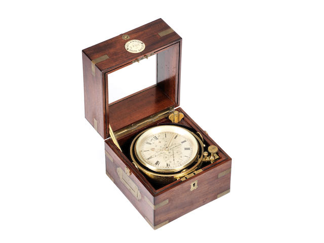 A mid 19th century (check) brass-bound mahogany two-day marine chronometer Thomas L. Ainsley, 16 Market Place, South Shields, No 2305