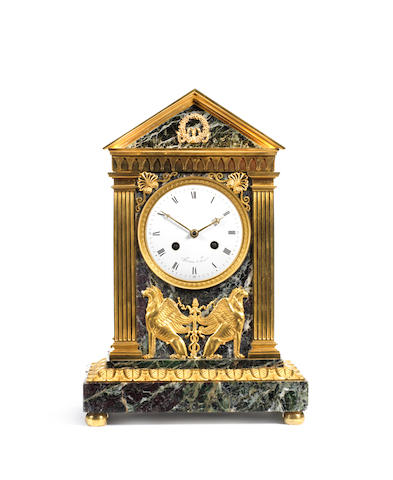 A French Empire clock attributed to Galle