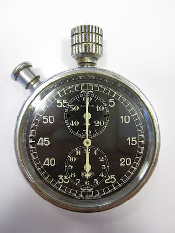 A Heuer chrome plated manual wind chronograph dashboard stopwatch Autavia, Movement No.305184, Circa 1933 54mm.
