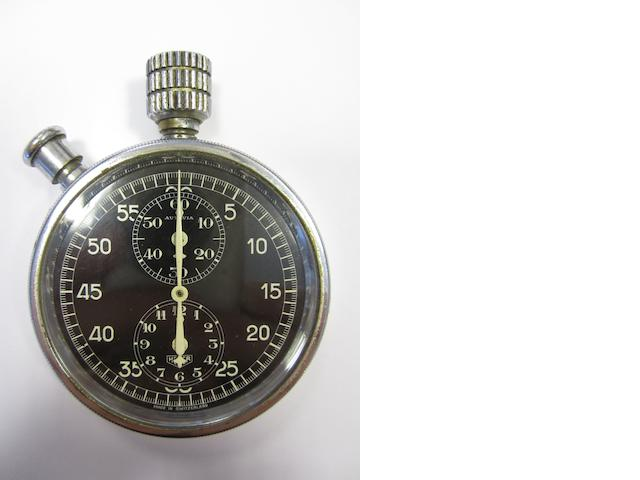 Heuer. A chrome plated manual wind chronograph dashboard stopwatch Autavia, Movement No.305184, Circa 1935