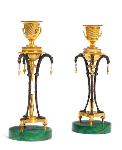 A pair of Russian second half 18th century malachite, gilt and patinated bronze candlesticks