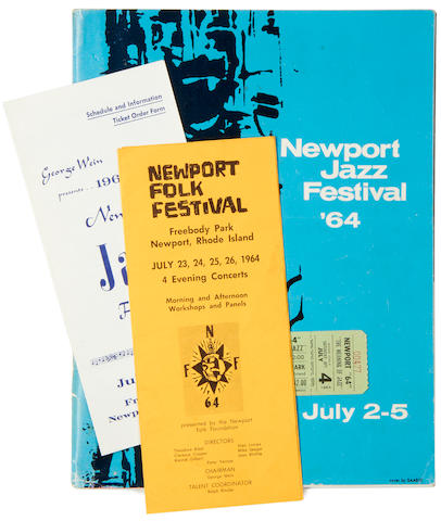 Bob Dylan: a Newport Folk Festival programme, together with various related items and autographs, 1964,
