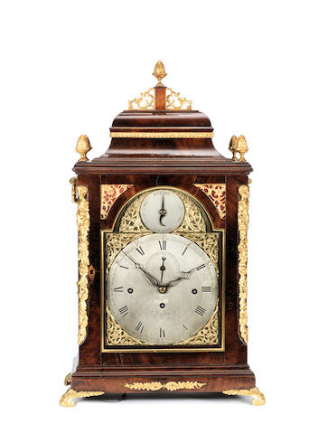 A late 18th century gilt brass-mounted mahogany quarter chiming table clock John Taylor, London