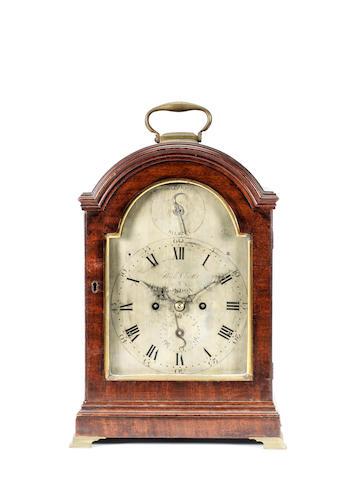 A good late 18th century mahogany bracket clock  Richard Chater, London,