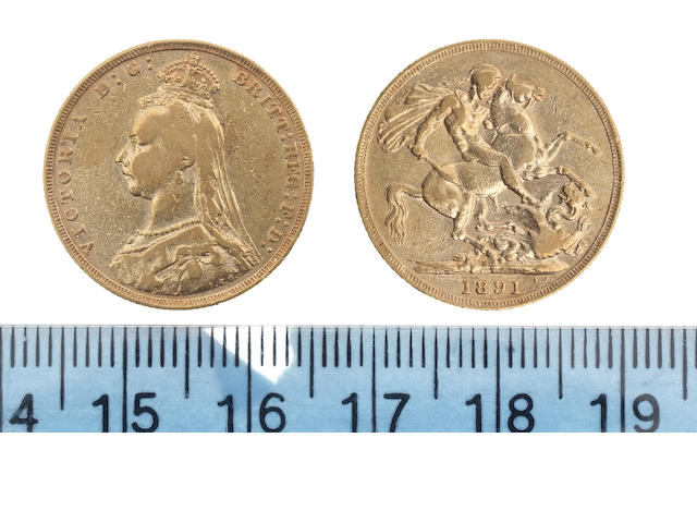 Victoria, Sovereign, 1891, Jubile bust left, similar repositioned legend. G of D:G: now closer to crown. Normal JEB (angled J) designer's initials at base of trun.
