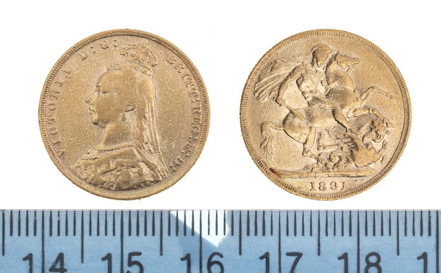 Victoria, Sovereign, 1891, Jubilee bust left, similar repositioned legend. G: of D:G: now closer to crown. Normal JEB (angled J) designer's initials at base of trun.
