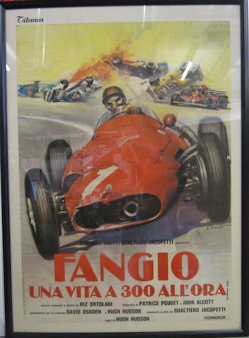 """""""Fangio una vita a 300 all'ora"""", original film poster, Italian,"""
