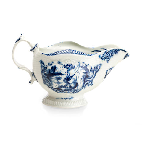 A Worcester blue and white sauceboat Circa 1760
