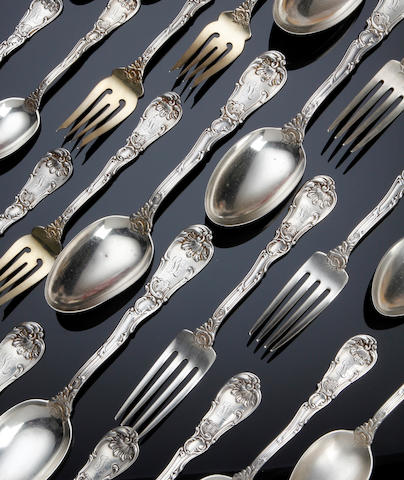 An American silver Kings variant pattern canteen for six settings by Gorham,  late 19th century