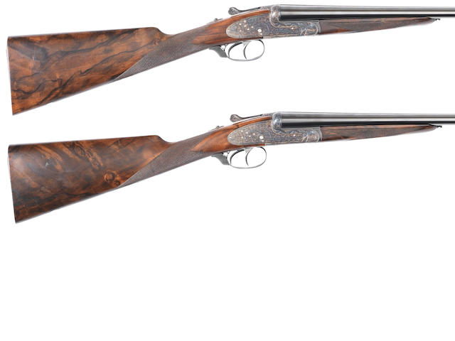 A pair of 20-bore (3in) 'No. 2' round-bodied sidelock ejector guns by Aguirre & Aranzabal, no. 409-04/410-04 In a Beretta plastic case and together with six further Teague chokes and two choke-keys