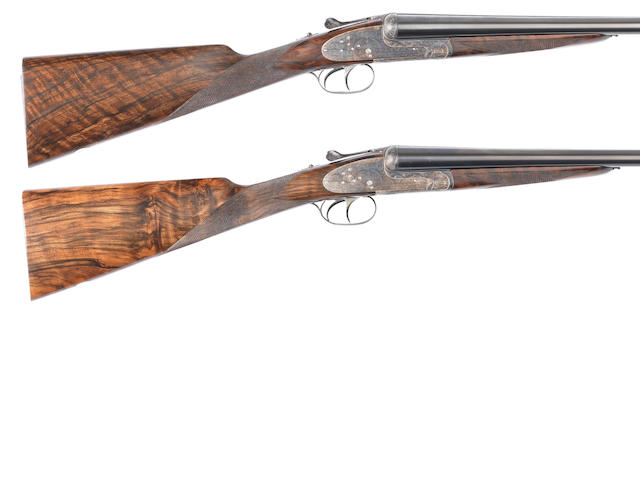 A pair of 12-bore (3in) 'No. 2' round-bodied sidelock ejector guns by Aguirre & Aranzabal, no. 447-04/448-04 In a Negrini plastic case with ten further Teague chokes and two choke-keys