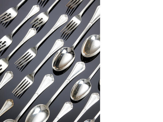 An American silver comprehensive canteen for twelve settings, pattern untraced by Reed & Barton, recent