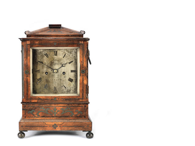 A good early 19th century brass-strung rosewood table clock Wilson, Southampton Street, Strand