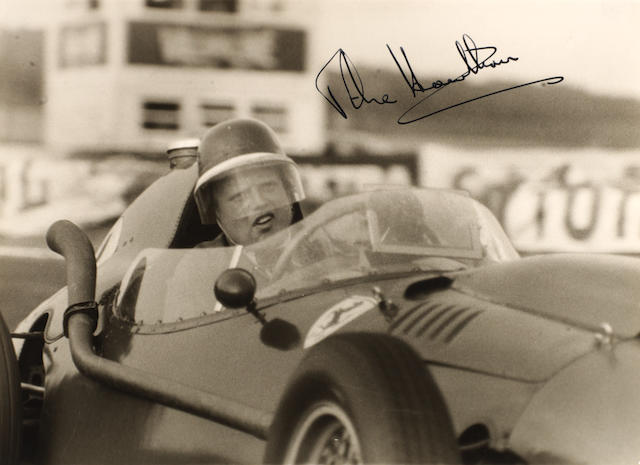A signed photograph of Mike Hawthorn,