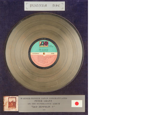 Led Zeppelin: A Japanese 'Platinum' award for the album 'Led Zeppelin IV',  1980,