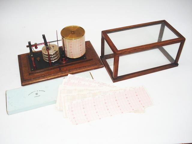A Negretti and Zambra recording oak cased barograph,