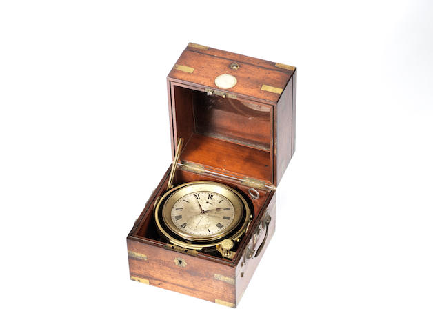 A rare late 19th century brass-bound mahogany two-day marine chronometer Thomas Boxell, North Street, Brighton,