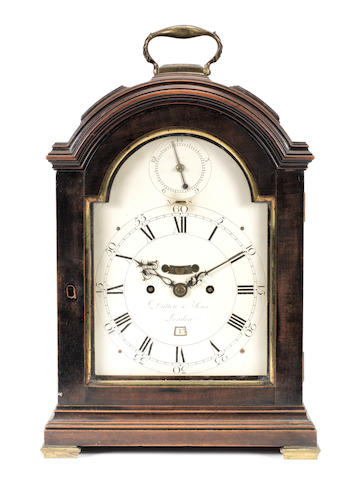 A good late 18th century polished fruitwood triple pad top table clock with deadbeat escapement and rise-and-fall regulation  Dutton & Sons, London, No 206
